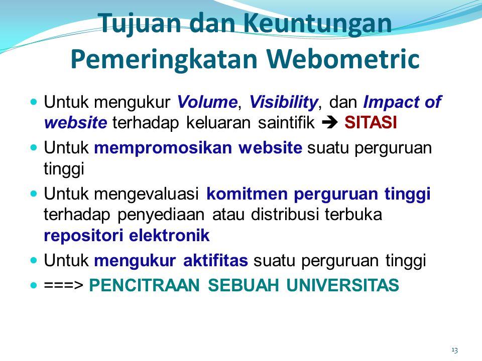 Tujuan dan Keuntungan Pemeringkatan Webometric  Untuk mengukur Volume, Visibility, dan Impact of website terhadap keluaran saintifik  SITASI  Untuk mempromosikan website suatu perguruan tinggi  Untuk mengevaluasi komitmen perguruan tinggi terhadap penyediaan atau distribusi terbuka repositori elektronik  Untuk mengukur aktifitas suatu perguruan tinggi  ===> PENCITRAAN SEBUAH UNIVERSITAS 13