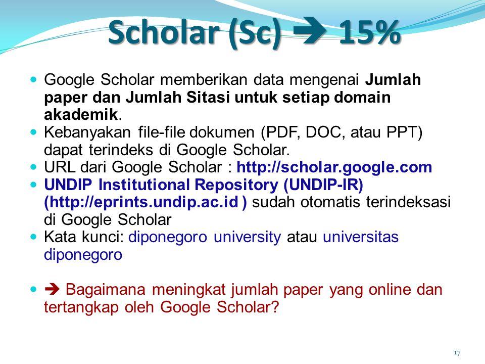 Scholar (Sc)  15%  Google Scholar memberikan data mengenai Jumlah paper dan Jumlah Sitasi untuk setiap domain akademik.