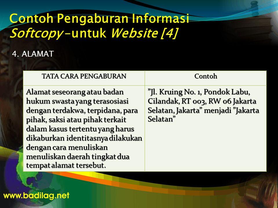 Contoh Pengaburan Informasi Softcopy –untuk Website [4] 4. ALAMAT TATA CARA PENGABURAN Contoh Alamat seseorang atau badan hukum swasta yang terasosias