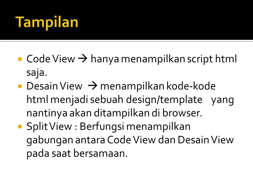  Code View  hanya menampilkan script html saja.  Desain View  menampilkan kode-kode html menjadi sebuah design/template yang nantinya akan ditampi