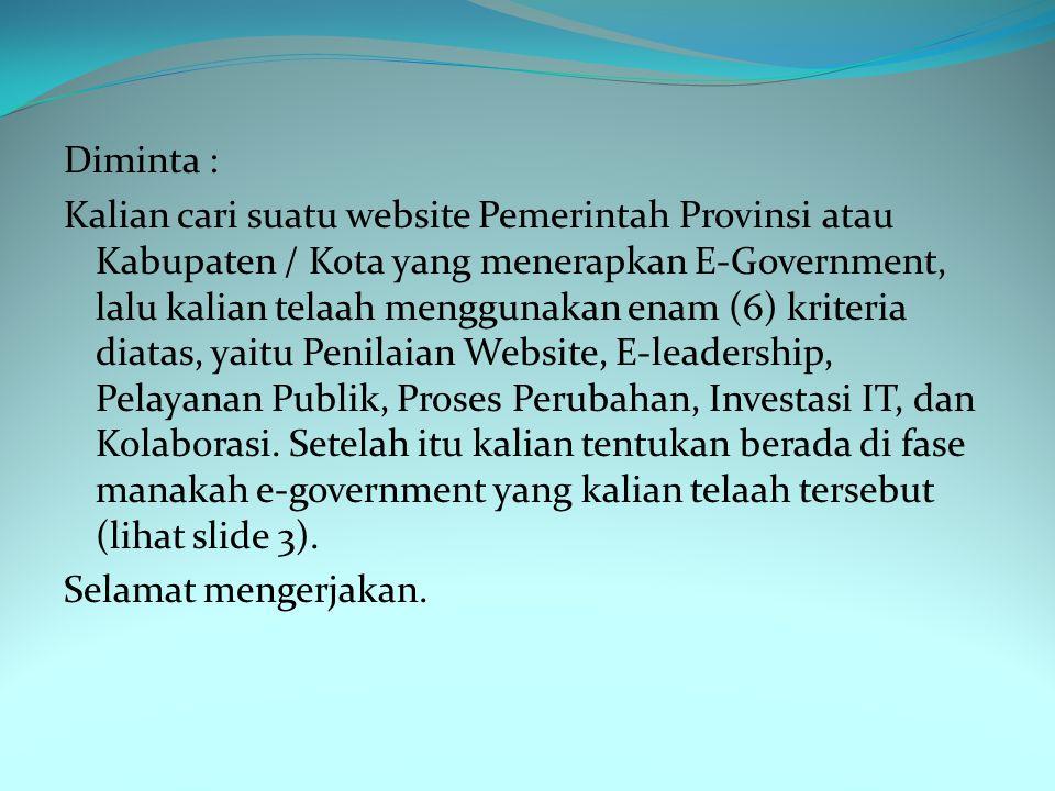 Diminta : Kalian cari suatu website Pemerintah Provinsi atau Kabupaten / Kota yang menerapkan E-Government, lalu kalian telaah menggunakan enam (6) kriteria diatas, yaitu Penilaian Website, E-leadership, Pelayanan Publik, Proses Perubahan, Investasi IT, dan Kolaborasi.