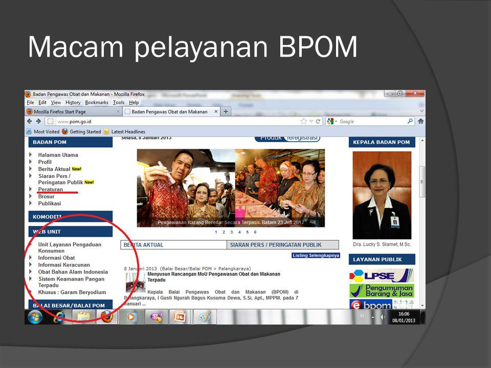Macam pelayanan BPOM