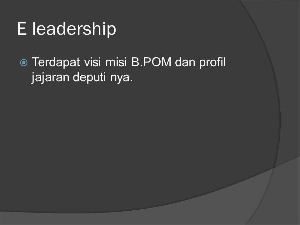 E leadership  Terdapat visi misi B.POM dan profil jajaran deputi nya.