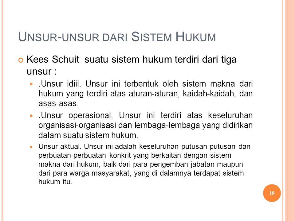 U NSUR - UNSUR DARI S ISTEM H UKUM Kees Schuit suatu sistem hukum terdiri dari tiga unsur : . Unsur idiil. Unsur ini terbentuk oleh sistem makna dari