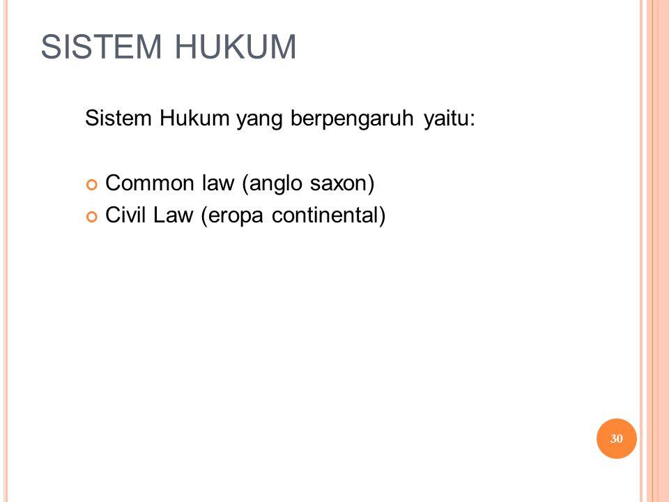 SISTEM HUKUM Sistem Hukum yang berpengaruh yaitu: Common law (anglo saxon) Civil Law (eropa continental) 30
