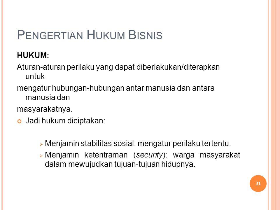 P ENGERTIAN H UKUM B ISNIS HUKUM: Aturan-aturan perilaku yang dapat diberlakukan/diterapkan untuk mengatur hubungan-hubungan antar manusia dan antara