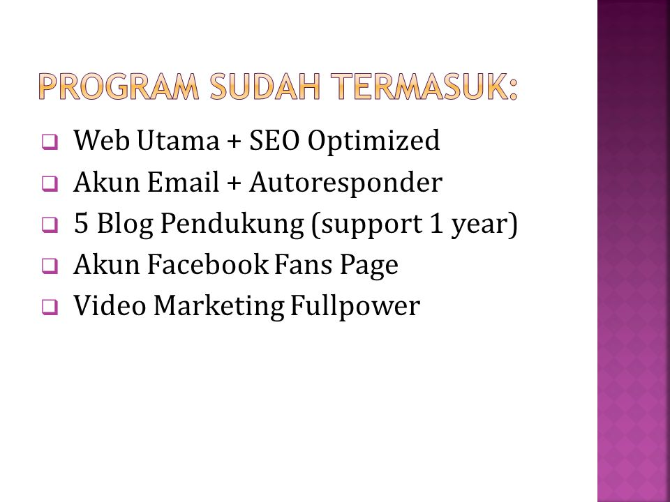  Web Utama + SEO Optimized  Akun Email + Autoresponder  5 Blog Pendukung (support 1 year)  Akun Facebook Fans Page  Video Marketing Fullpower