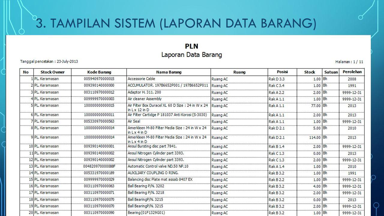 3. TAMPILAN SISTEM (LAPORAN DATA BARANG)