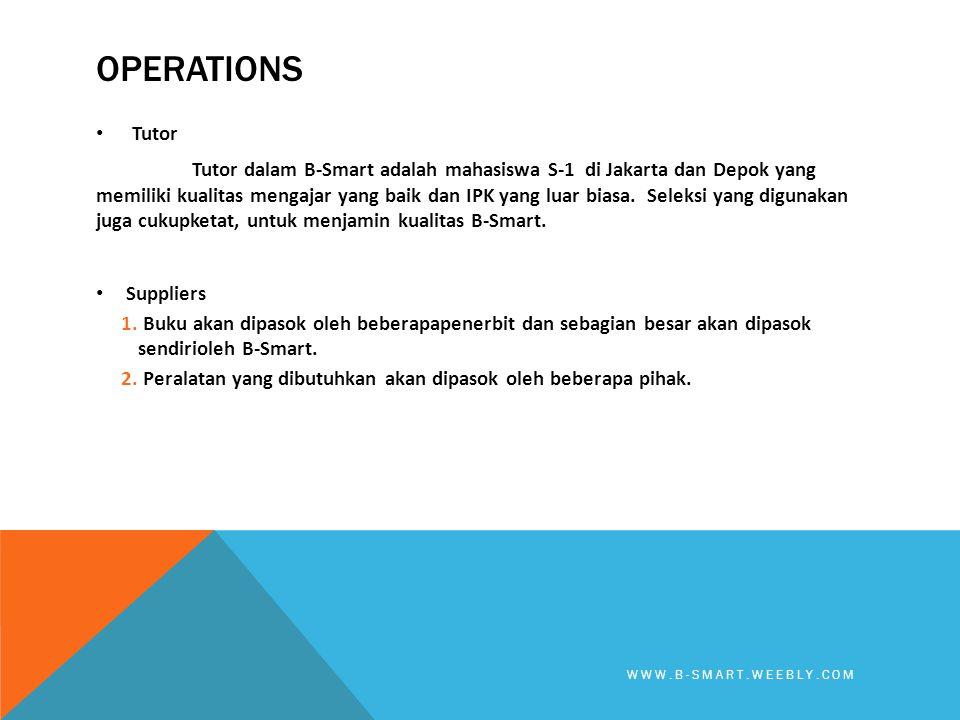 OPERATIONS • Tutor Tutor dalam B-Smart adalah mahasiswa S-1 di Jakarta dan Depok yang memiliki kualitas mengajar yang baik dan IPK yang luar biasa. Se