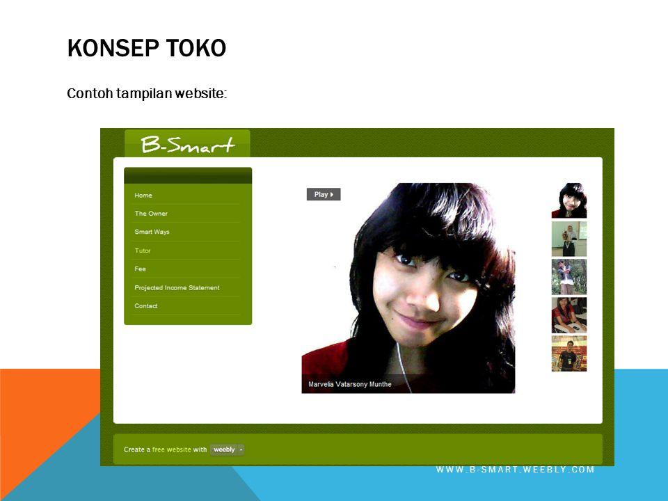 KONSEP TOKO Contoh tampilan website: WWW.B-SMART.WEEBLY.COM