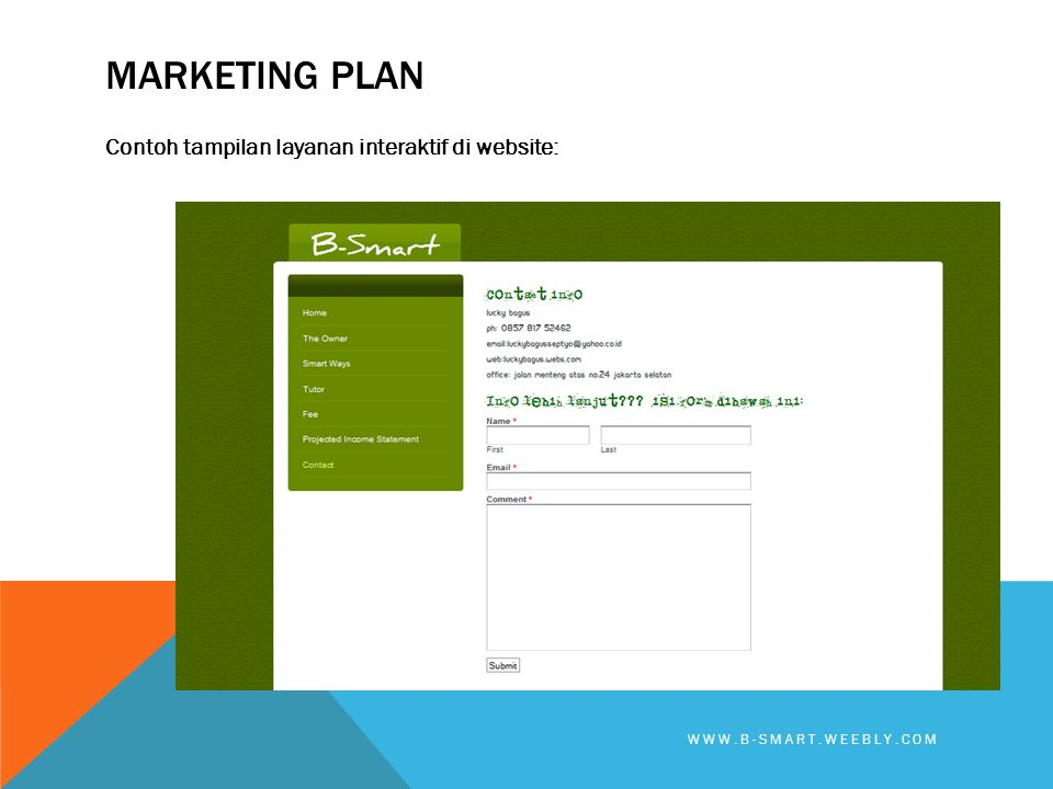 MARKETING PLAN Contoh tampilan layanan interaktif di website: WWW.B-SMART.WEEBLY.COM