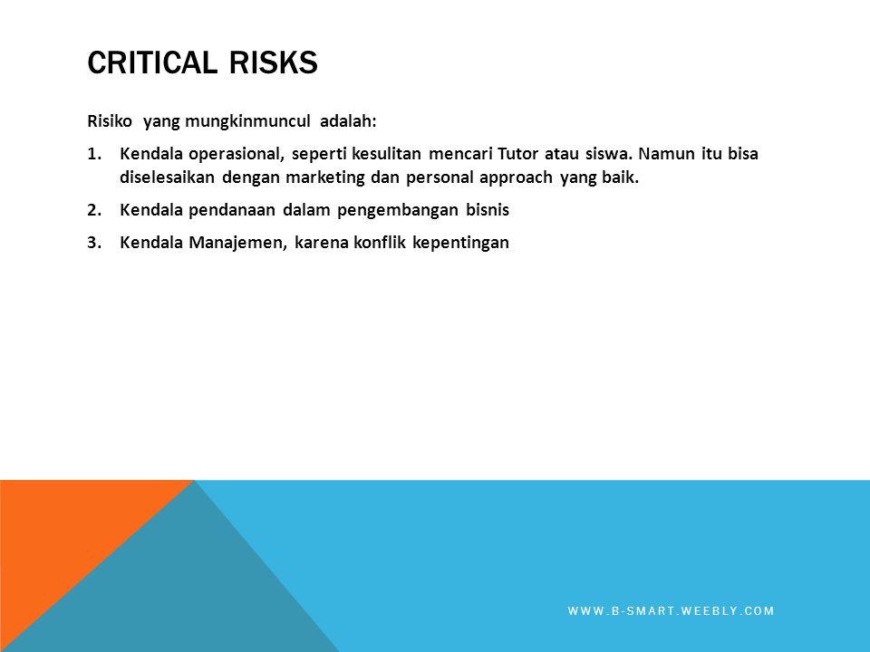 CRITICAL RISKS Risiko yang mungkinmuncul adalah: 1.Kendala operasional, seperti kesulitan mencari Tutor atau siswa. Namun itu bisa diselesaikan dengan