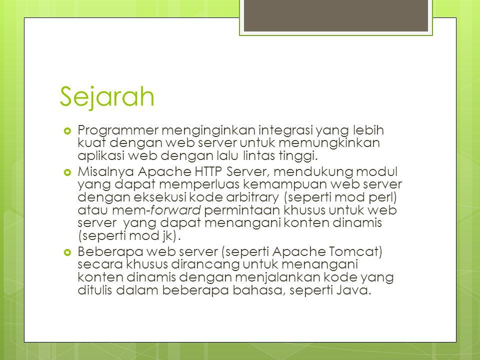 Sejarah  Programmer menginginkan integrasi yang lebih kuat dengan web server untuk memungkinkan aplikasi web dengan lalu lintas tinggi.  Misalnya Ap