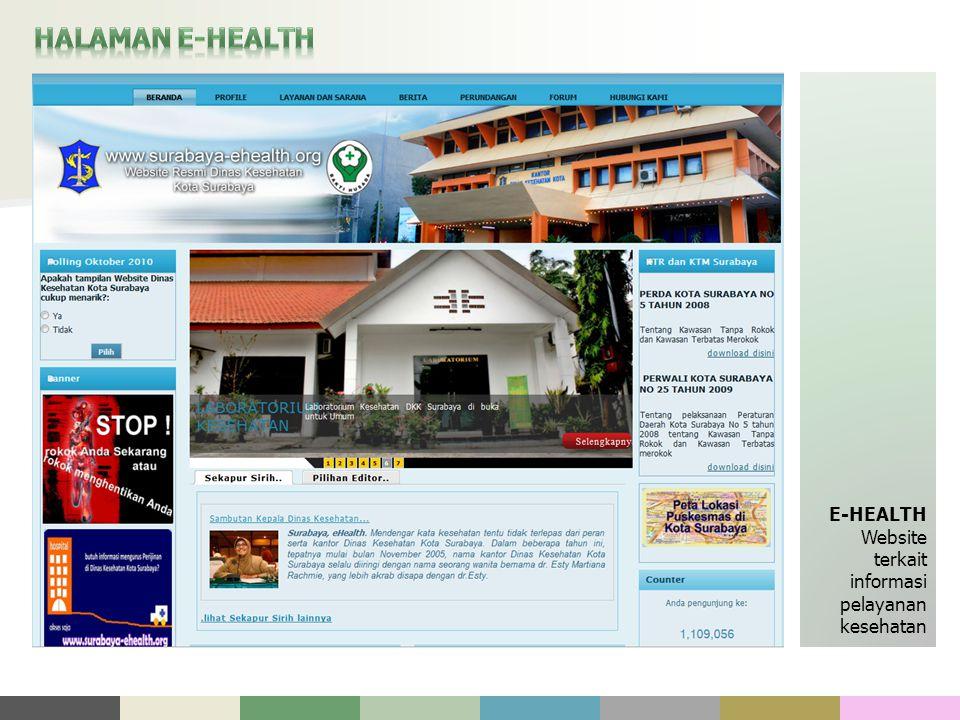 E-HEALTH Website terkait informasi pelayanan kesehatan