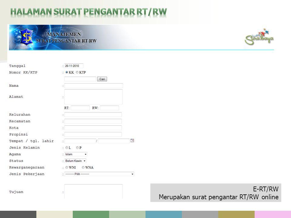 E-RT/RW Merupakan surat pengantar RT/RW online