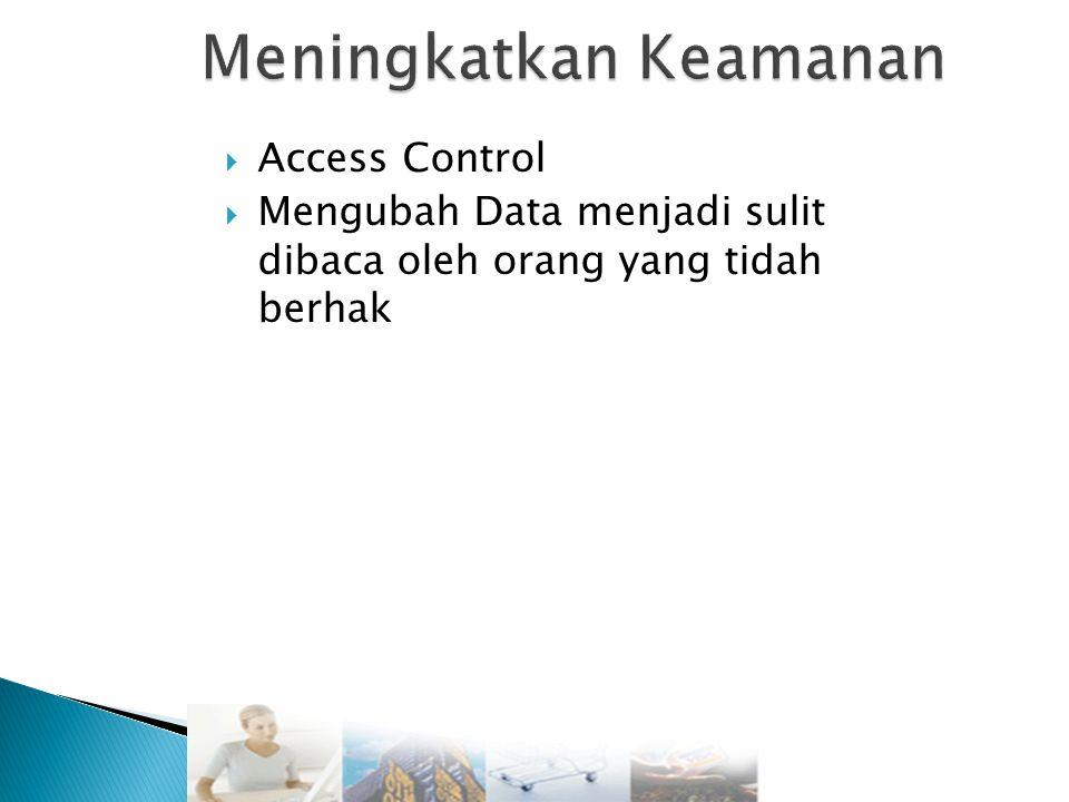  Access Control  Mengubah Data menjadi sulit dibaca oleh orang yang tidah berhak