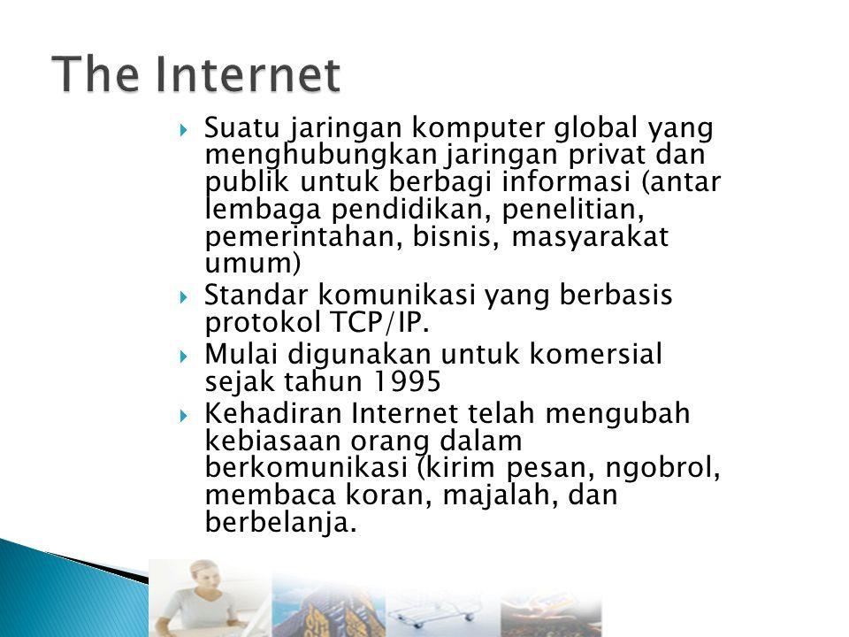  Suatu jaringan komputer global yang menghubungkan jaringan privat dan publik untuk berbagi informasi (antar lembaga pendidikan, penelitian, pemerintahan, bisnis, masyarakat umum)  Standar komunikasi yang berbasis protokol TCP/IP.