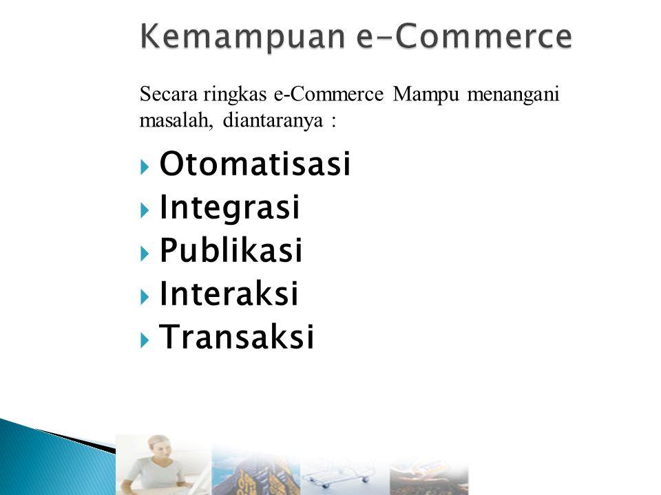  Otomatisasi  Integrasi  Publikasi  Interaksi  Transaksi Secara ringkas e-Commerce Mampu menangani masalah, diantaranya :