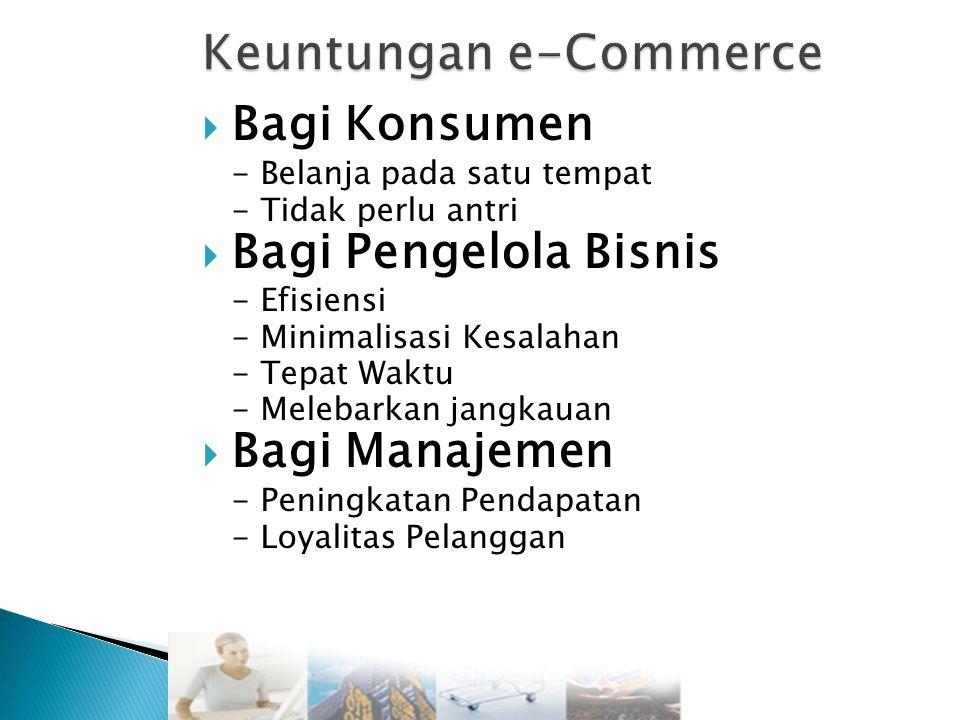  Bagi Konsumen - Belanja pada satu tempat - Tidak perlu antri  Bagi Pengelola Bisnis - Efisiensi - Minimalisasi Kesalahan - Tepat Waktu - Melebarkan jangkauan  Bagi Manajemen - Peningkatan Pendapatan - Loyalitas Pelanggan