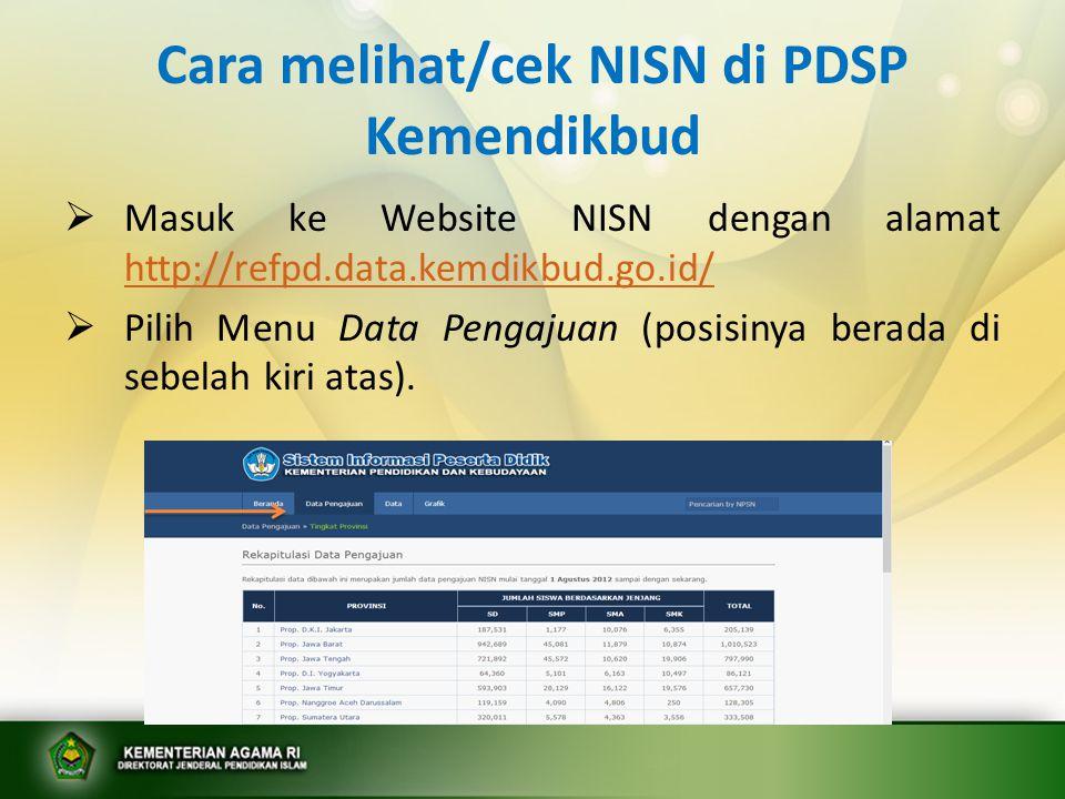 Cara melihat/cek NISN di PDSP Kemendikbud  Masuk ke Website NISN dengan alamat http://refpd.data.kemdikbud.go.id/ http://refpd.data.kemdikbud.go.id/