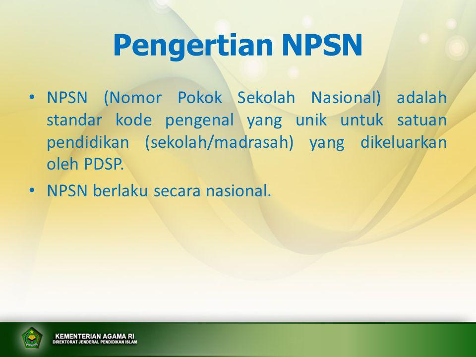 Pengertian NISN • NISN (Nomor Induk Siswa Nasional) adalah standar kode pengenal yang unik untuk siswa yang dikeluarkan oleh PDSP.