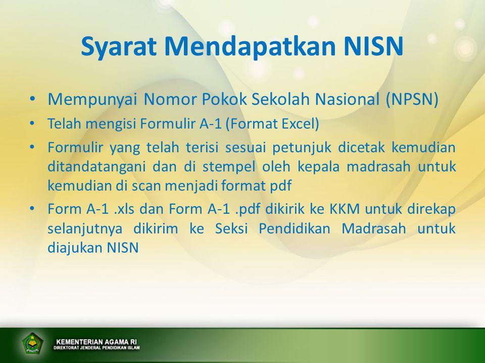 Syarat Mendapatkan NISN • Mempunyai Nomor Pokok Sekolah Nasional (NPSN) • Telah mengisi Formulir A-1 (Format Excel) • Formulir yang telah terisi sesua