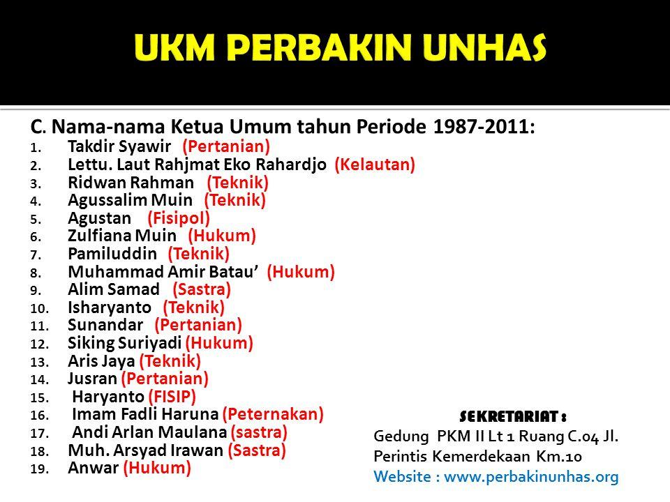 C. Nama-nama Ketua Umum tahun Periode 1987-2011: 1. Takdir Syawir (Pertanian) 2. Lettu. Laut Rahjmat Eko Rahardjo (Kelautan) 3. Ridwan Rahman (Teknik)