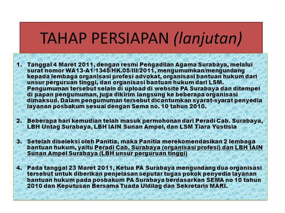TAHAP PERSIAPAN (lanjutan) A)Pada tanggal 1 Maret 2011, Ketua PA Surabaya membuat SK No. W13- A1/1181/HK.05/III/2011, tentang Pos Bantuan Hukum pada P
