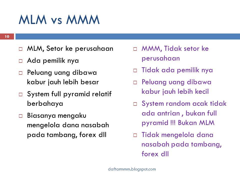 MLM vs MMM daftarmmm.blogspot.com 10  MLM, Setor ke perusahaan  Ada pemilik nya  Peluang uang dibawa kabur jauh lebih besar  System full pyramid r