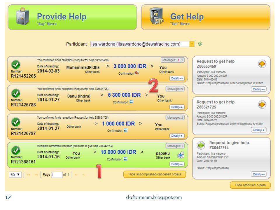daftarmmm.blogspot.com 18 1.Pada mulanya saya mendaftar dan memberikan bantuan Rp 10 Juta tanggal 06 Jan 2014 2.Sepuluh (10) hari kemudian, order transfer keluar dan saya mentransfer Rp 10 Juta sesuai dengan details nya 3.Setelah selesai mentransfer maka yang saya lakukan adalah DUDUK MANIS sampai saat nya bisa meminta bantuan dan/atau mempromosikan MMM untuk mendapat bonus-bonus * Saya mentransfer dana bantuan bukan ke COMPANY tetapi kepada orang yang sedang meminta bantuan.