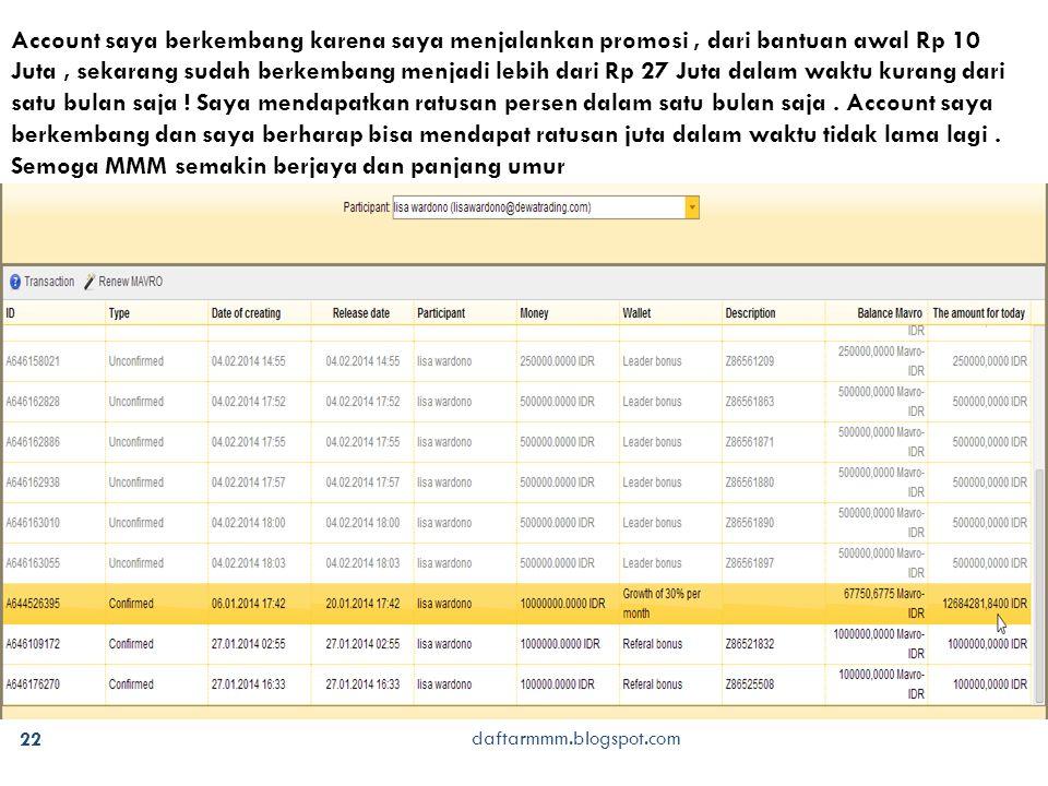daftarmmm.blogspot.com 23 Masuk memberikan bantuan Rp 10 Juta Sudah tarik dana lebih dari Rp 33 Juta dalam waktu 1 bulan