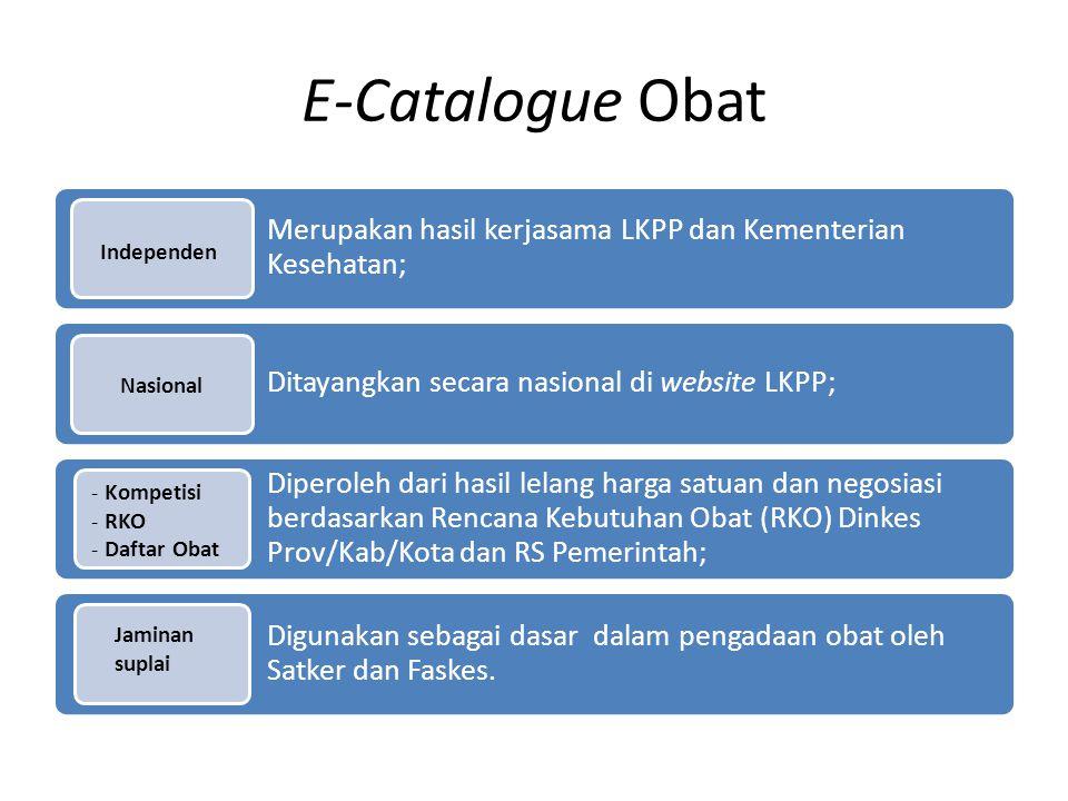 E-Catalogue Obat Merupakan hasil kerjasama LKPP dan Kementerian Kesehatan; Ditayangkan secara nasional di website LKPP; Diperoleh dari hasil lelang ha