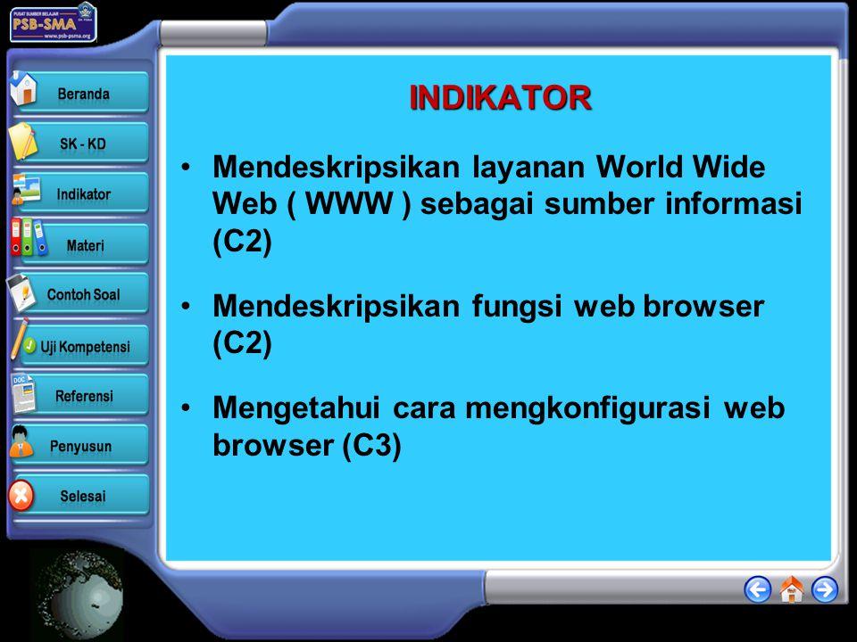 INDIKATOR •Mendeskripsikan layanan World Wide Web ( WWW ) sebagai sumber informasi (C2) •Mendeskripsikan fungsi web browser (C2) •Mengetahui cara mengkonfigurasi web browser (C3)