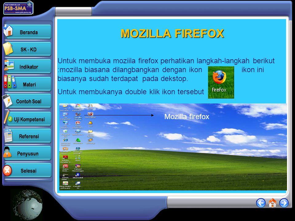 MOZILLA FIREFOX Untuk membuka moziila firefox perhatikan langkah-langkah berikut :mozilla biasana dilangbangkan dengan ikon ikon ini biasanya sudah terdapat pada dekstop.