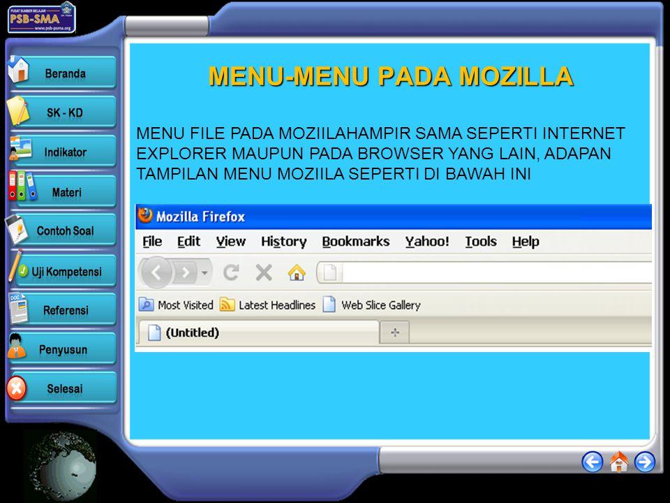 MOZILLA FIREFOX Untuk membuka moziila firefox perhatikan langkah-langkah berikut :mozilla biasana dilangbangkan dengan ikon ikon ini biasanya sudah te