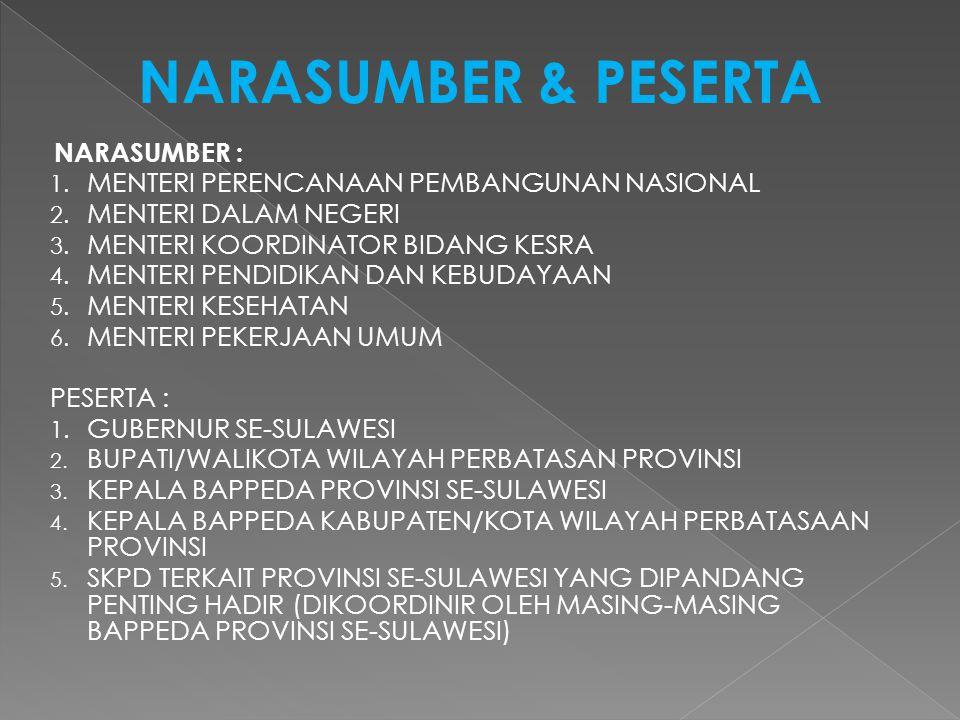 NARASUMBER & PESERTA NARASUMBER : 1. MENTERI PERENCANAAN PEMBANGUNAN NASIONAL 2.