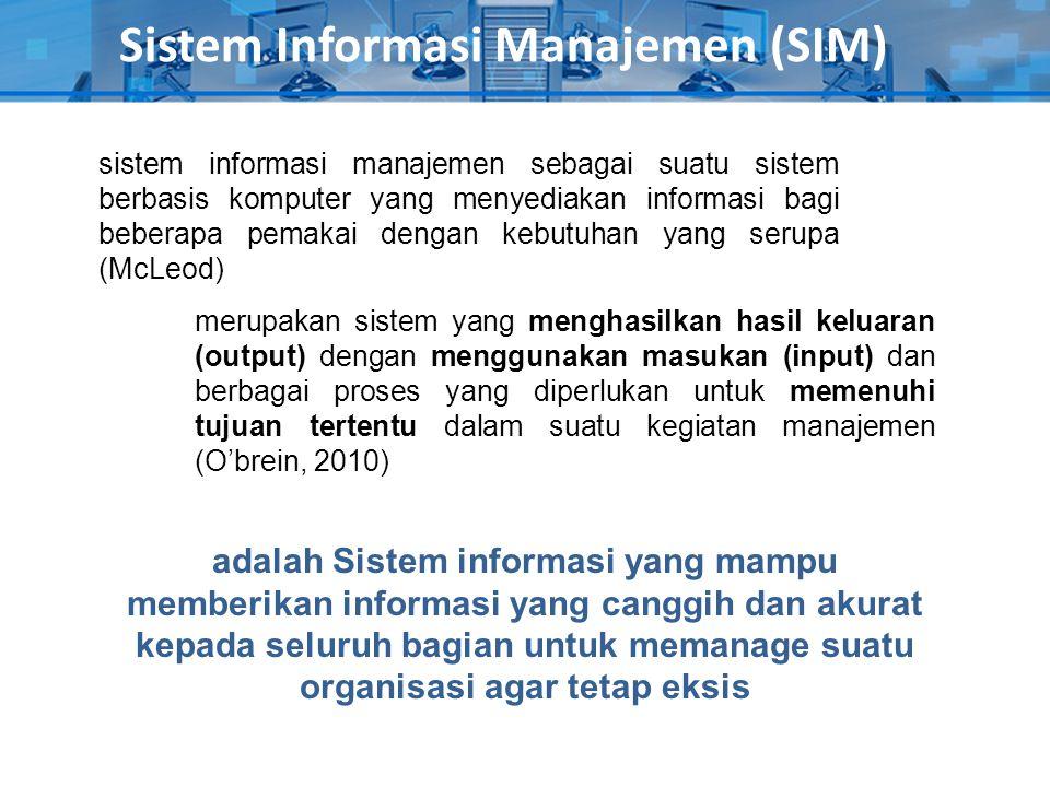 Sistem Informasi Manajemen (SIM) sistem informasi manajemen sebagai suatu sistem berbasis komputer yang menyediakan informasi bagi beberapa pemakai de