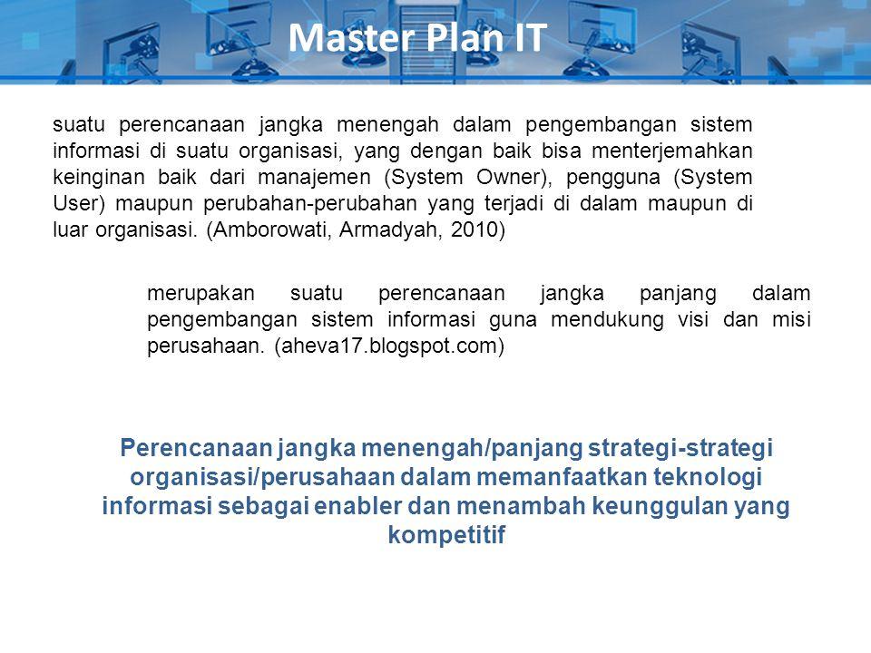 Master Plan IT suatu perencanaan jangka menengah dalam pengembangan sistem informasi di suatu organisasi, yang dengan baik bisa menterjemahkan keingin