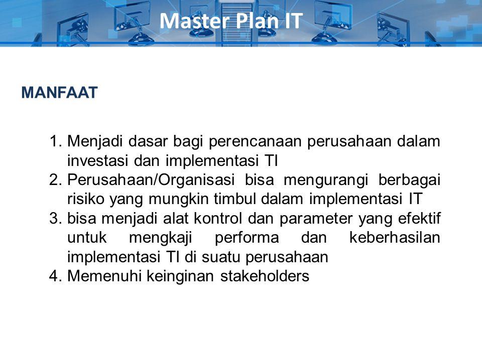 Master Plan IT 1.Menjadi dasar bagi perencanaan perusahaan dalam investasi dan implementasi TI 2.Perusahaan/Organisasi bisa mengurangi berbagai risiko