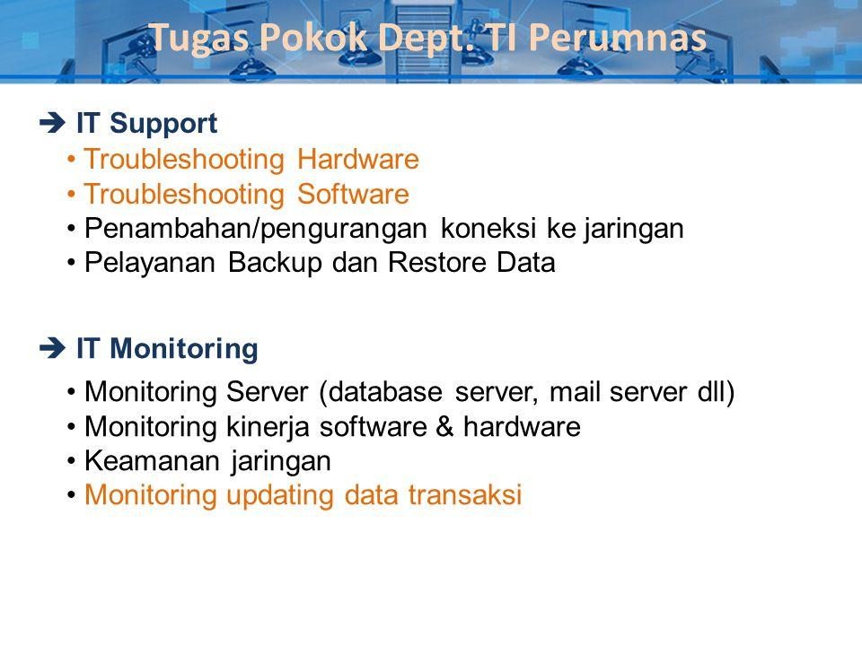 Tugas Pokok Dept. TI Perumnas  IT Support  IT Monitoring • Troubleshooting Hardware • Troubleshooting Software • Penambahan/pengurangan koneksi ke j