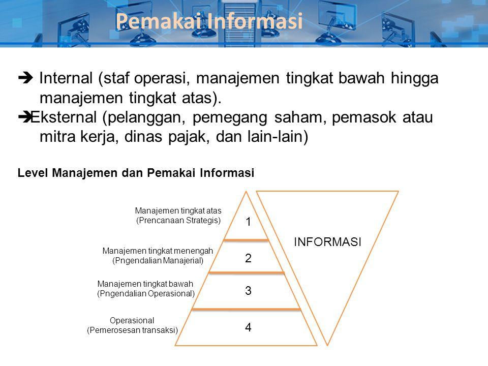 Pemakai Informasi  Internal (staf operasi, manajemen tingkat bawah hingga manajemen tingkat atas).  Eksternal (pelanggan, pemegang saham, pemasok at