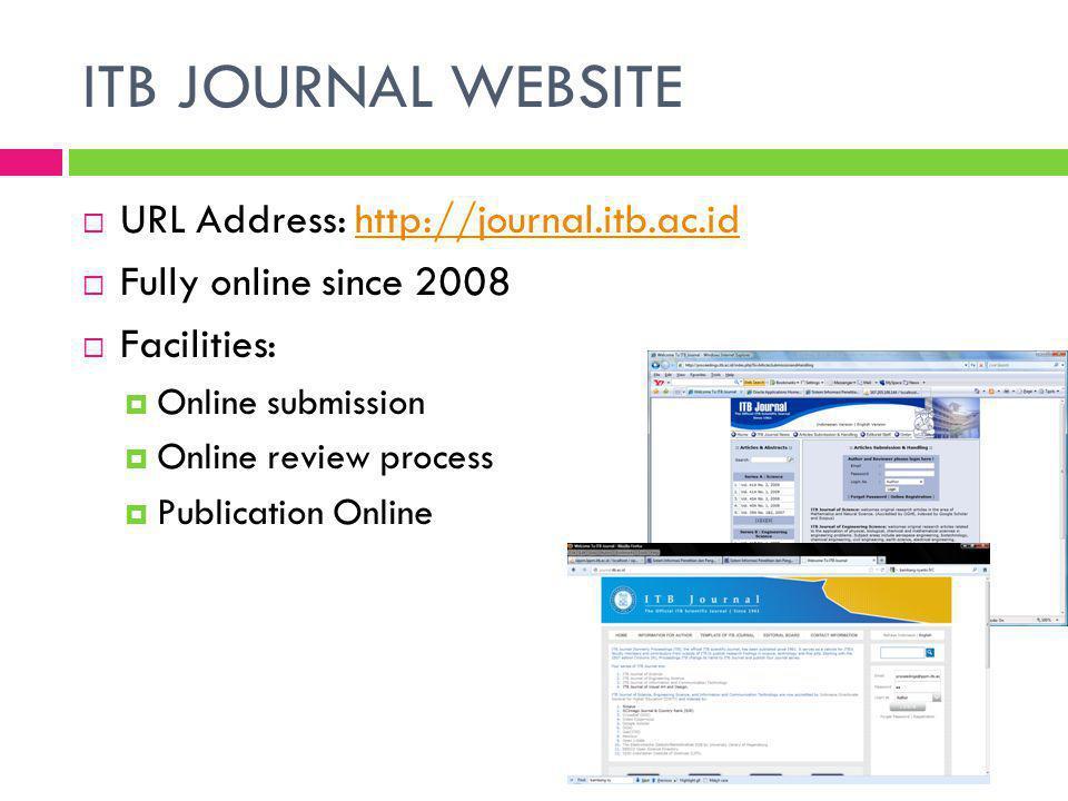 INTERNATIONALIZATION  Involved international editor, since 2003  Full paper written in English:  ITB J.
