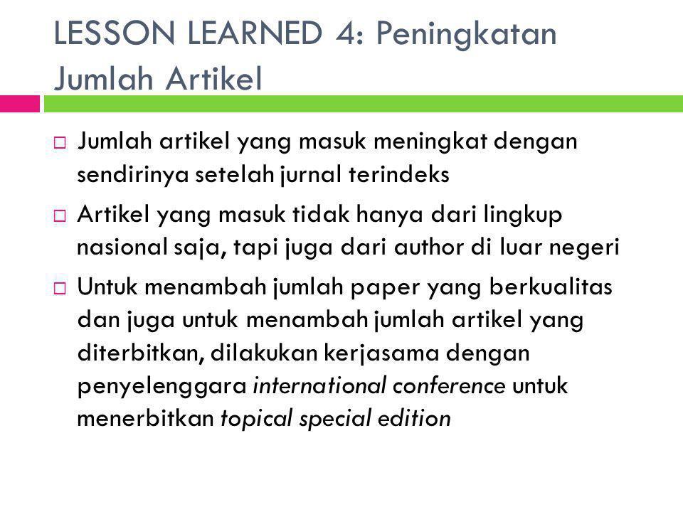 LESSON LEARNED 4: Peningkatan Jumlah Artikel  Jumlah artikel yang masuk meningkat dengan sendirinya setelah jurnal terindeks  Artikel yang masuk tid