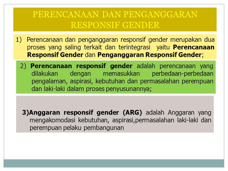 1) Perencanaan dan penganggaran responsif gender merupakan dua proses yang saling terkait dan terintegrasi yaitu Perencanaan Responsif Gender dan Peng
