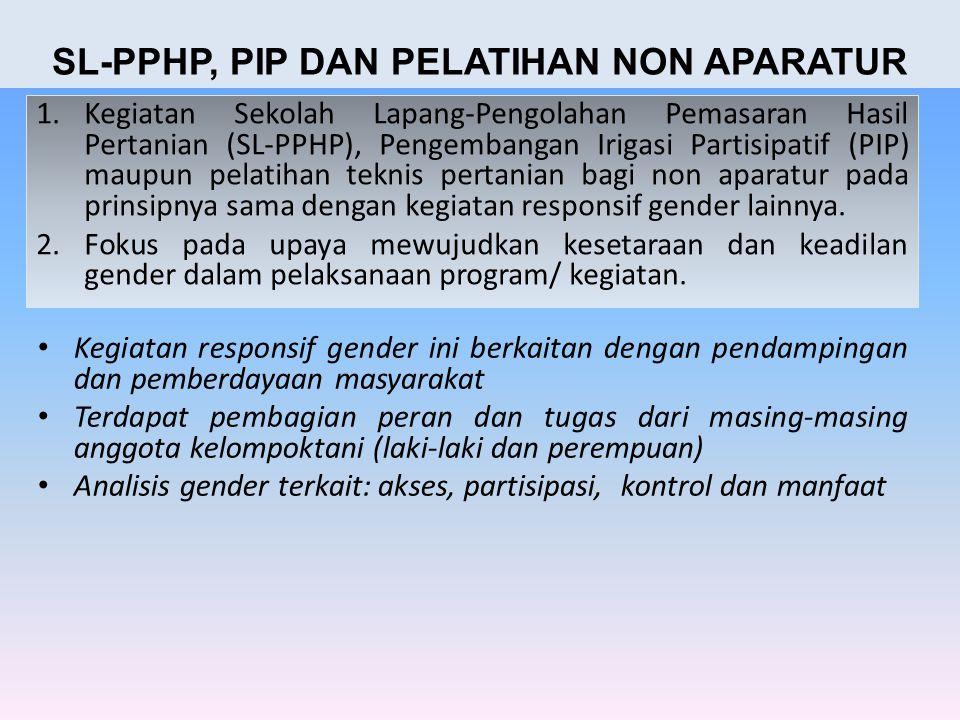 1.Kegiatan Sekolah Lapang-Pengolahan Pemasaran Hasil Pertanian (SL-PPHP), Pengembangan Irigasi Partisipatif (PIP) maupun pelatihan teknis pertanian ba