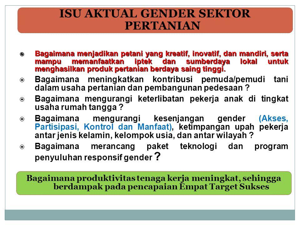  Penyusunan panduan PUG : 1) PUG dalam Pembangunan Pertanian; 2) Panduan Umum PUG dalam Rencana Aksi, 3) Penyusunan Modul dan Pelatihan Alur kerja Analisis; 4) Pengintergrasian Isu Gender ke dalam Perencanaan dan Penganggaran Pembangunan Pertanian; 5) Penyusunan Model Penanggulangan Kemiskinan Responsif Gender Pedesaan (PUAP) dll.