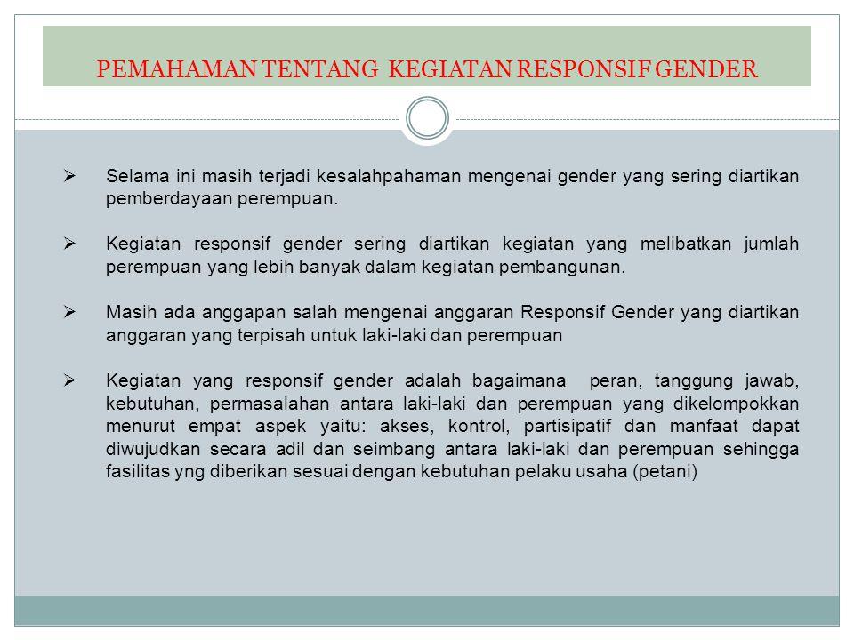 1.Identifikasi kesenjangan (akses, partisipasi,, kontrol,manfaat) 2.Permasalahan gender 3.Merancang kegiatan Tiga Tahap Sembilan Langkah Penyusun an Renja K/L Output kegiata n Identifikasi level output kegiatan yang responsif gender Alat Bantu Analisis: GAP RK A- K/ L GBS RAB TOR Jukla k/ Jukni s DIP A/ POK