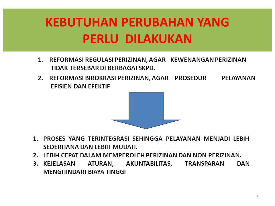 1.MENEMPATKAN SELURUH PELAYANAN PERIZINAN DAN NON PERIZINAN SKPD DI DALAM SATU TEMPAT ( PELAYANAN PERIZINAN TERPADU / (P2T)).