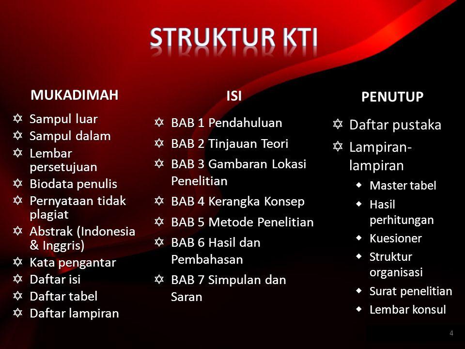 MUKADIMAH  Sampul luar  Sampul dalam  Lembar persetujuan  Biodata penulis  Pernyataan tidak plagiat  Abstrak (Indonesia & Inggris)  Kata pengan