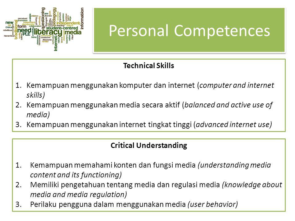 Personal Competences Technical Skills 1.Kemampuan menggunakan komputer dan internet (computer and internet skills) 2.Kemampuan menggunakan media secar